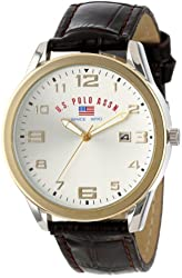 U.S. Polo Assn. Classic Men's US5150  Two-Tone Watch with Embossed Faux-Leather Band