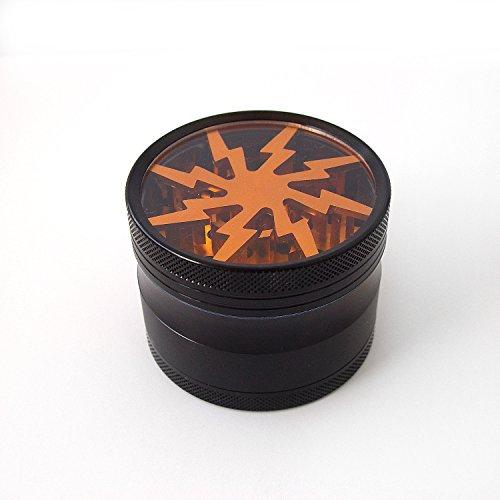 Stylish-Lightning-Herb-Grinder-with-Pollen-Catcher-Brush-and-Scraper-4-Piece-25-Premium-Grade-Aluminum-Durable-Light