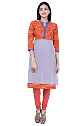 Rene Women's Multicolor Three Quarter Sleeves with Stand Collar Cotton Kurti