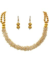 JFL - Traditional, Ethnic One Gram Gold Plated Pearls & Gold Bead Designer Necklace Set With Earring For Girls...