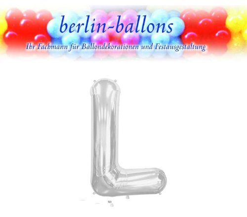 Letter L - Silver Helium Foil Balloon - 34 inch