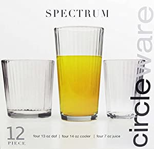 Circleware SPECTRUM 12pc. Glassware Set