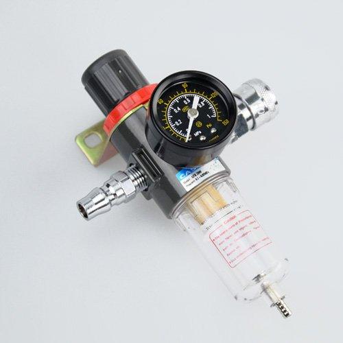 圧縮調節と水分除去に!レギュレーター付きエアーフィルター1/4オスメスカプラー各1個付