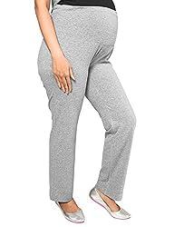 Nine Maternity Wear Super Comfortable Grey Cotton Foldover Jersey Pants for Women