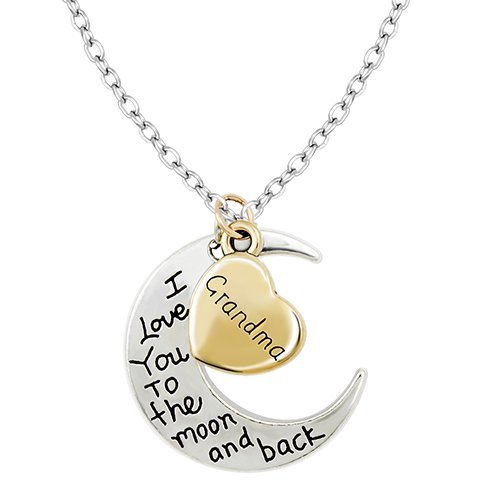 Gold   Silver I Love You To The Moon & Back Necklace Pendant Charm Gift Present (Grandma)