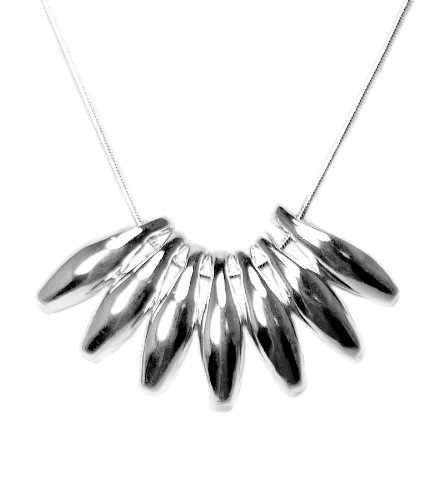 925 Sterling Silver Toned Bold Fanned Bead Necklace
