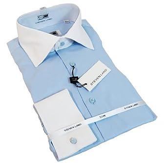 Men's Lite Blue Dress Shirt by Steven Land, White contrast Collar, Contrast Cuffs, 100% Cotton, French Cuffs