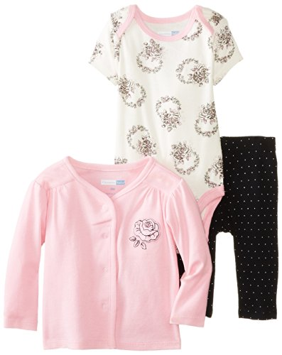 Vitamins Baby Baby-Girls Newborn Embroidered Rose 3 Piece Cardigan Pant Set, Pink, 6 Months front-1018113