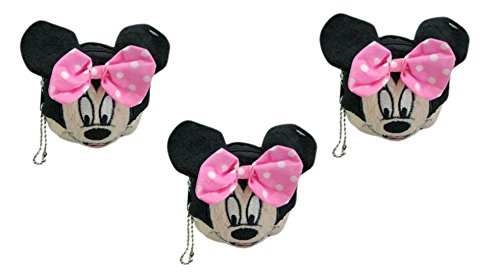Disney Minnie Mouse Face Plush Coin Wallet x 3