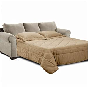 Amazon Simmons Upholstery 1640 QS Cabot Microfiber Queen Sleeper Sofa and Loveseat Set