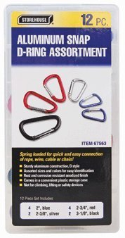 12 Pack Colored Anodized Aluminum Snap D-ring