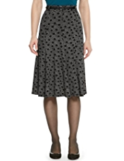 M&S Collection Multi Spotted Long Flippy Skirt with Belt