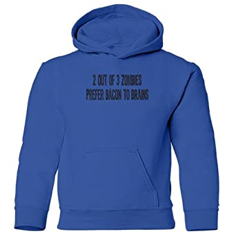 Zombie Underground Zombies Prefer Bacon To Brains Kids Hooded Sweatshirt (Royal Blue, Large)