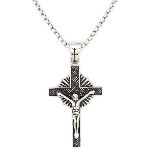 2 PIECE SET: Vintage 19-Inch Stainless Steel Rolo Chain Necklace With Crucifix Pendant (LIFETIME WARRANTY)