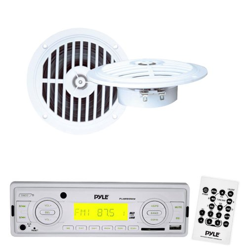 Pyle Marine Radio Receiver And Speaker Package - Plmr89Ww Am/Fm-Mpx In-Dash Marine Mp3 Player/Weatherband/Usb & Sd, Mmc Memory Card Function - Plmr57W 5 1/4'' Dual Cone Waterproof Stereo Speaker System
