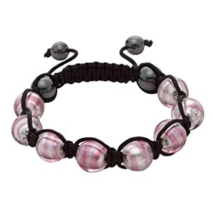 Bellissi Murano Venezia Pink and White Shamballa Bracelet with Genuine Murano Glass and Haematitie Beads on Black Cord