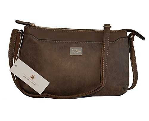 "Borsa tracolla ""crossbody"" David Jones in ecopelle effetto ""vintage"" - dark camel"