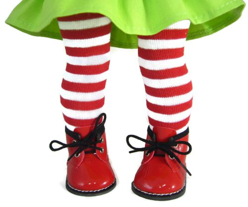 Red/White Striped Tights & Red Booties made for American Girl doll