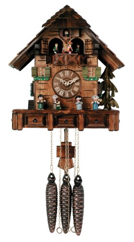 River City Clocks One Day Musical Cuckoo Clock Cottage with Dancers and Moving Oompah Band - 13 Inches Tall - Model # MD460-13