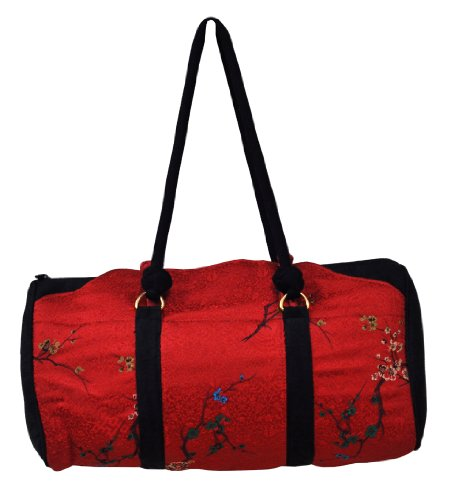 Red and Black Cherry Blossom Satin Brocade Purse