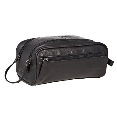 J by Jasper Conran Designer Black Leather Wash Bag