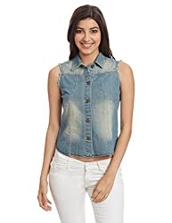 Global Desi Women's Cotton Blouson Jacket (MSGD006JKDNM_Blue_L)