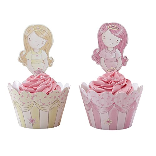 Ginger Ray Princess Party Cupcake Wraps & Toppers, Pink - 1