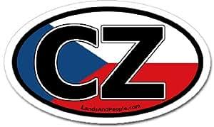 Czech Republic CZ Flag Car Bumper Sticker Decal Oval