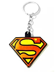 Keychain Super Man Logo Red Yellow Rubber Synthetic Metal Keyring