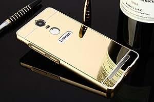 SDO™ Mirror Back Cover Case with Acrylic Bumper Frame for Lenovo Vibe K5 Note (Gold)
