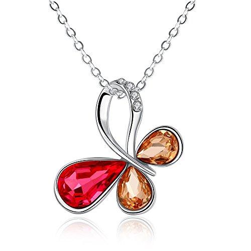 "iCAREu Platinum Plated Multicolor Zircons Butterfly Pendant Necklace for Women, Girls, 18"" (Platinum)"