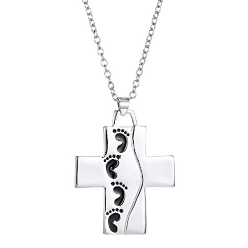 Charm.L Grace Cross Carved Little Feet Charm Pendant Lover Necklace (Little Feet Necklace compare prices)