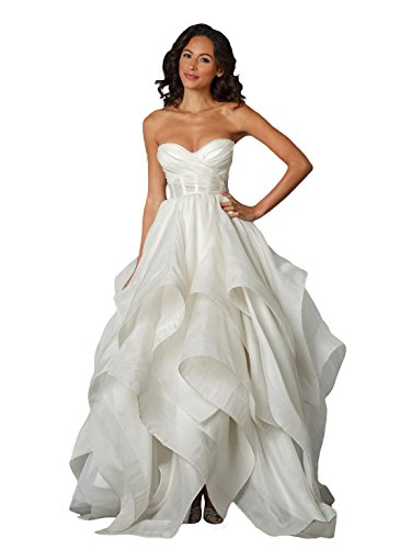 BRL MALL Women's Vintage Sweetheart Cascading Ruffle Wedding Dresses (6
