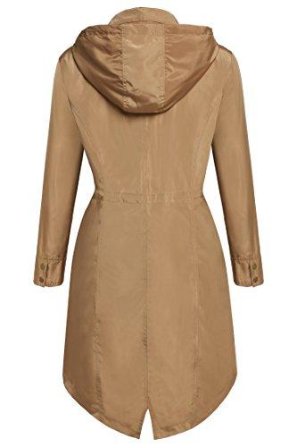 Meaneor Women Long Sleeve Spring Single Breat Long Trench Hood Coat Windbreaker (M, Khaki)