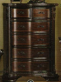 Mandalay Brown Cherry Finish Baroque Style Bedroom Chest