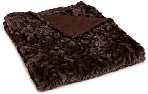 Northpoint Cashmere Rose Faux Fur Throw, Chocolate front-1012372