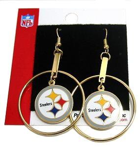 Womens Pittsburgh Steelers Fan Hoop Earrings