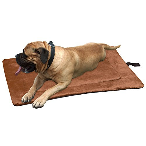 Evelots Self Heating Pet Bed 36 L By 23 5 W Soft Brown