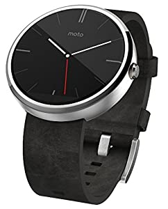 Motorola Moto 360 Smartwatch- Light Chrome/Grey Leather Strap