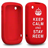 "RED/WHITE BLACKBERRY CURVE-8520 ""KEEP CALM AND STAY REEM"" LASERED SILICONE SKIN / COVER /CASEby ALPHA GADGETS"