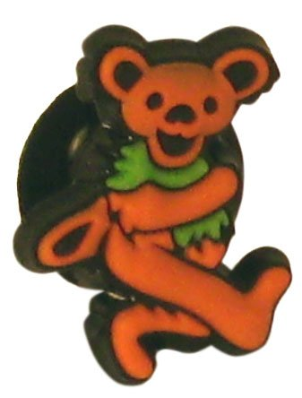 Grateful Dead Orange Dancing Bear Doo-Dad Shoe Charm for Rubber Clogs and Sandals