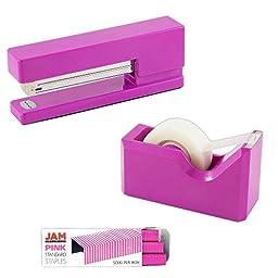JAM Paper Office & Desk Sets - 1 Stapler 1 Pack of Staples 1 Tape Dispenser - Fuscia - 2/pack