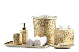 Cream gold scrolls pattern bathroom set of 6 for Cream and gold bathroom accessories