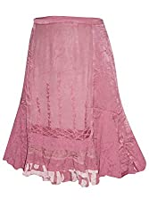 Indiatrendzs Women Skirts Rayon Embroidered Gypsy Pink Bohemian Long Skirt