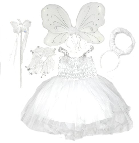 5 Pc Angel Fairy Dress with Wing, Wand, Hair Bow, & Halo Age 4-6