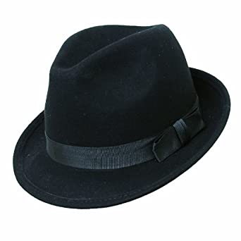 GENT'S SMART FELT TRILBY HAT WITH MATCHING BAND - 100% WOOL (58cm, BLACK)