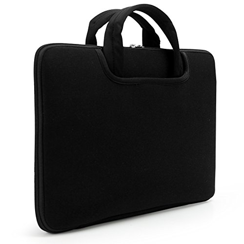 Lavievert Soft Neoprene (Water Resistance) Sleeve Laptop Handle Bag Handbag Notebook Case Cover with Two Extra Pockets for 13 inch MacBook and Most Popular 13-13.3 Inch Laptop / Ultrabooks - Black
