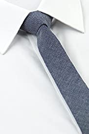 Autograph Pure Cotton Chambray Skinny Tie