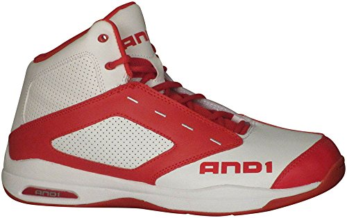 AND1 Men's Typhoon Bright White/Red/Bright White Sneaker 9 D (M)