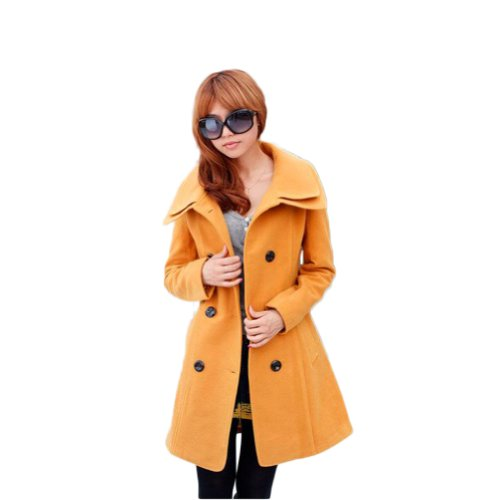 New Arrival !! Fashion Women's Trench Coat Lady Winter Coat Outerwear Double Breasted (COLOR : YELLOW)